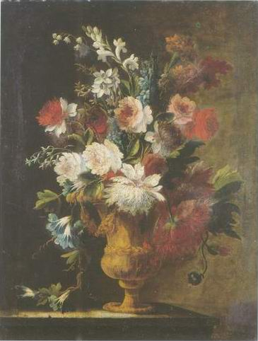carnations, morning glory,marigolds, painting, a Karel van vogelaer paintings reproduction, we never