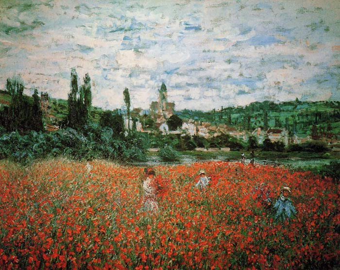 Monet Oil Painting Reproduction - Poppy Field near Vetheuil
