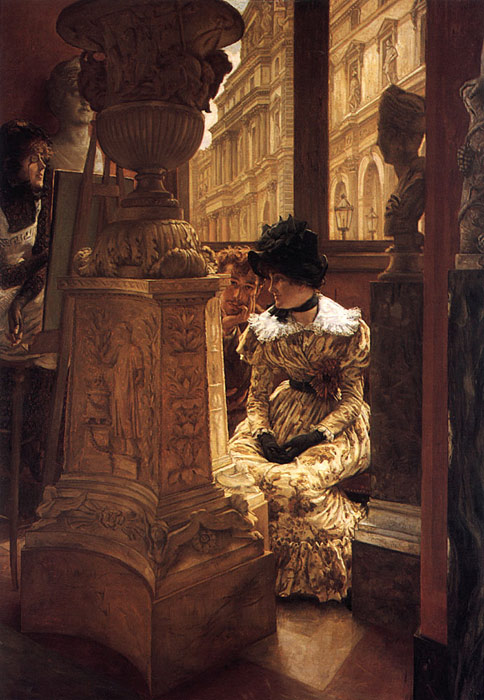 Oil Painting Reproduction of Tissot- In the Louvre