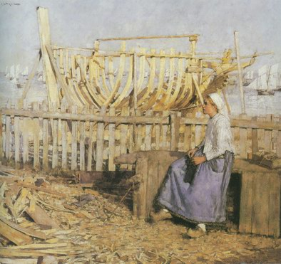 A French Boat Builing Yard painting, a Henry Herbert La Thangue paintings reproduction, we never