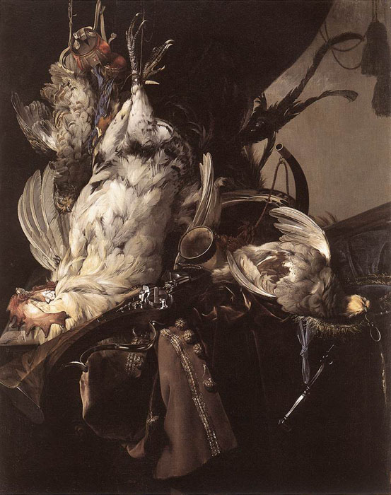 Aelst Oil Painting Reproductions - Still-Life of Dead Birds and Hunting Weapons