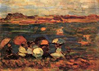 Beach Scene, St. Malo painting, a Maurice Prendergast paintings reproduction, we never sell Beach