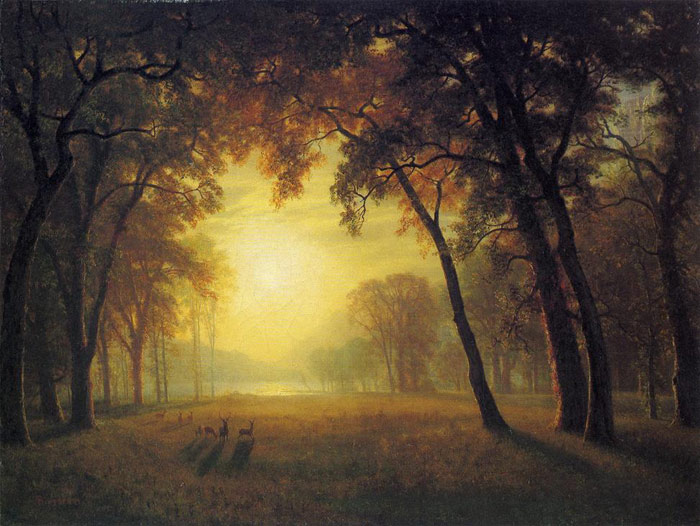 Bierstadt Oil Painting Reproductions- Deer in a Clearing
