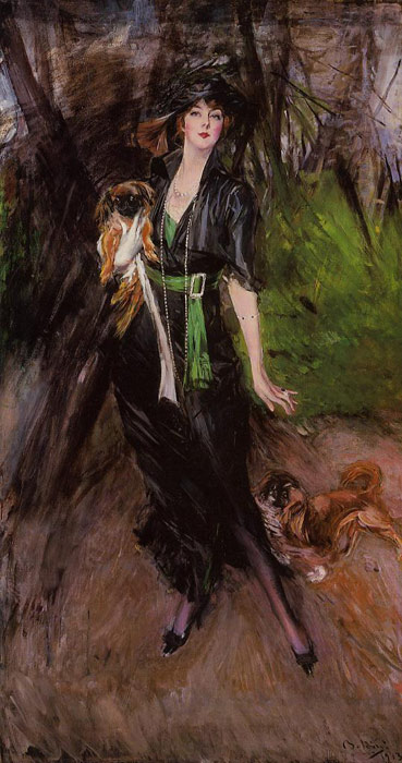 Boldini Oil Painting Reproductions- Portrait of a Lady, Lina Bilitis, with Two Pekinese