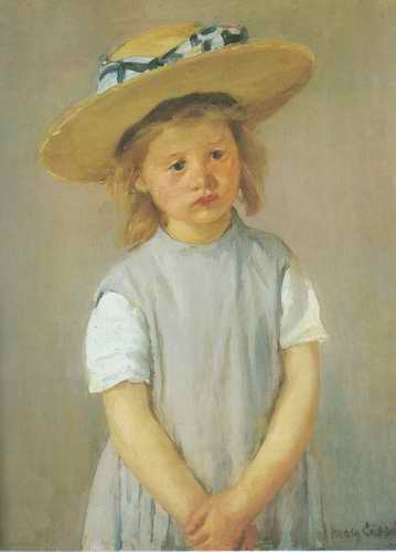 Child in a Straw Hat. c. 1886 painting, a Mary Cassatt paintings reproduction, we never sell Child