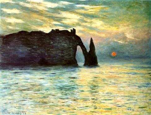 Etretat,Sunset,1883 painting, a Claude Monet paintings reproduction