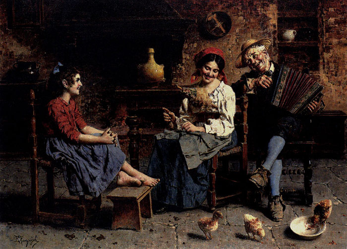 Eugenio Zampighi Oil Painting Reproductions - A Happy Tune