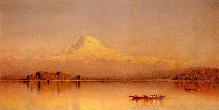 Gifford Oil Painting Reproductions - Mount Rainier, Bay of Tacoma