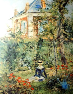 oil painting of a girl in the Garden at Bellevue