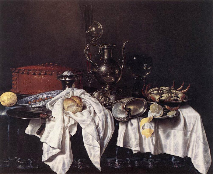 Heda Oil Painting Reproductions- Still-Life with Pie, Silver Ewer and Crab