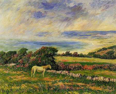 Horse in a Meadow painting, a Henri Moret paintings reproduction, we never sell Horse in a Meadow