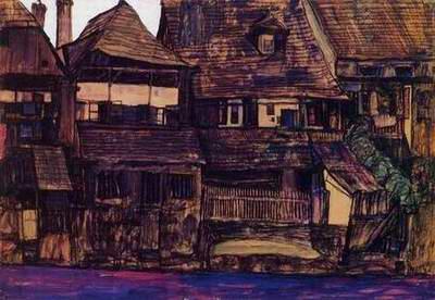 Houses on the Moldau, Krumau painting, a Egon Schiele paintings reproduction, we never sell Houses