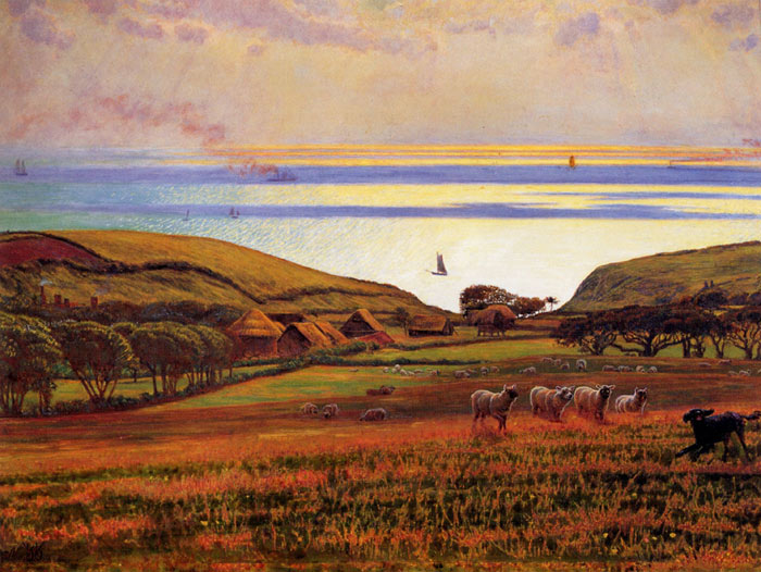 Hunt Oil Painting Reproductions - Fairlight Downs Sunlight on the Sea