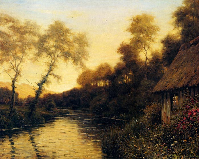 Knight Oil Painting Reproductions - A French River Landscape At Sunset