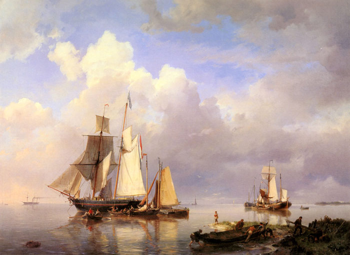 Koekkoek Oil Painting Reproductions - Vessels at Anchor in an Estuary