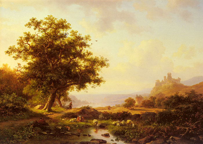 Kruseman Oil Painting Reproductions - An Extensive River Landscape With A Castle On A Hill Beyond