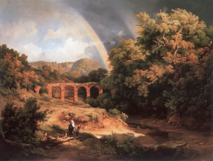 Marko Reproductions - Italian Landscape with Viaduct and Rainbow