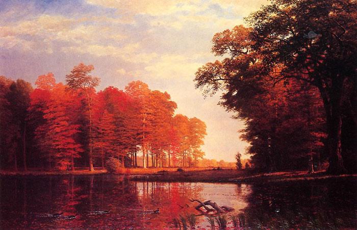Oil Painting Reproduction of Albert Bierstadt - Autumn Woods