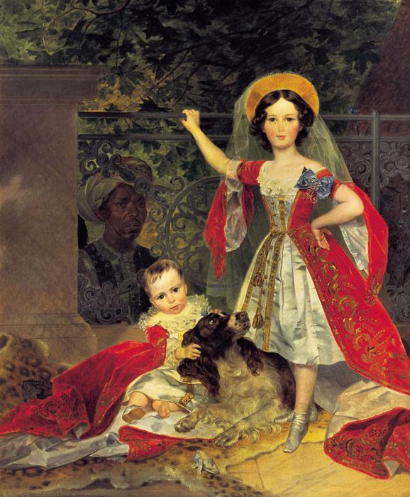 Oil Painting Reproduction of Brullov - Children Volkonski and an Arab