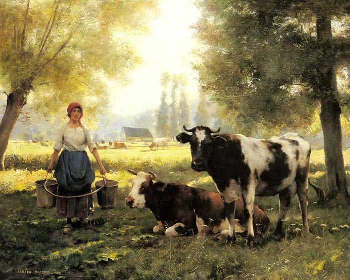 Oil Painting Reproduction of Dupre Julien - A Milkmaid with her Cows on a Summer Day