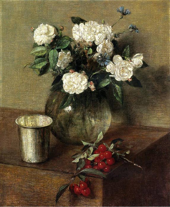 Oil Painting Reproduction of Fantin- Latour - White Roses and Cherries