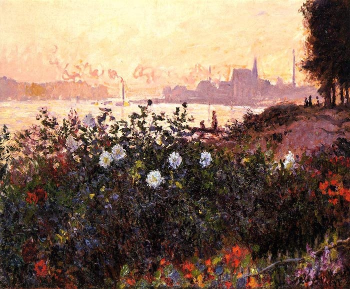 Oil Painting Reproduction of Monet- Argenteuil, Flowers by the Riverbank