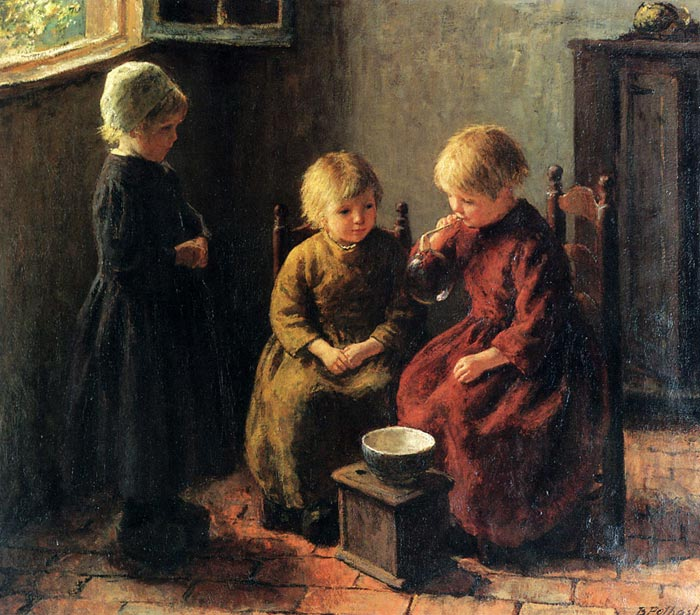 Oil Painting Reproduction of Potthast- Blowing Bubbles