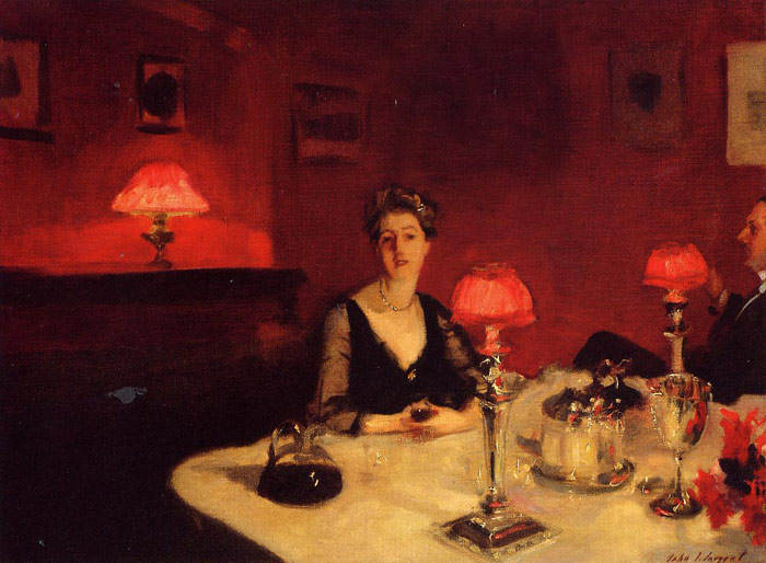 Oil Painting Reproduction of Sargent- A Dinner Table at Night