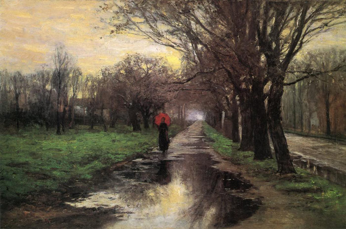 Oil Painting Reproduction of Steele- Meridian Street, Thawing Weather