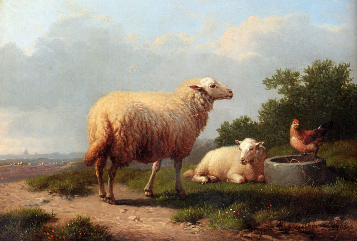 Oil Painting Reproduction of Verboeckhoven - Sheep In A Meadow