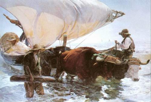 Retour de la Peche, Halage de la Barque painting, a Joaquin Sorolla Bastida paintings reproduction,
