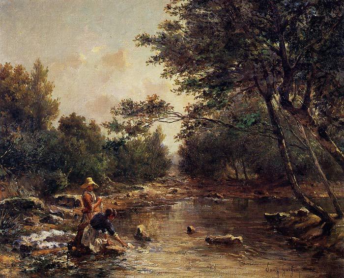River Scene at Bennecourt,1868 Schilderijen, a Claude Monet Schilderijen Reproductie, we never sell