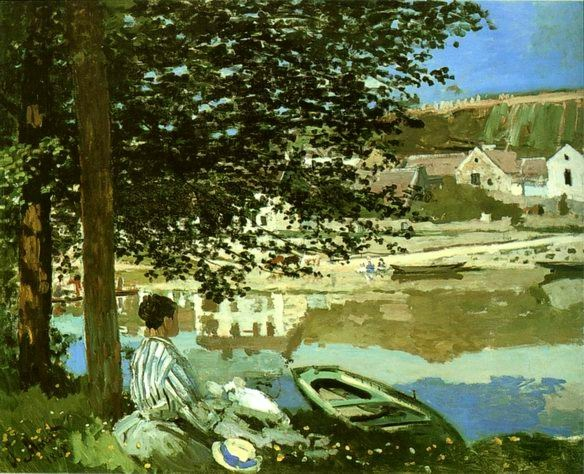 River Scene at Bennecourt,1868 painting, a Claude Monet paintings reproduction, we never sell River