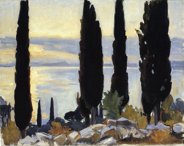 Sargent Oil Painting Reproductions - Cypress Trees at San Vigilio