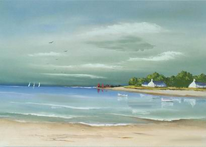 Seascape palette knife work painting, a unknown artist paintings reproduction, we never sell