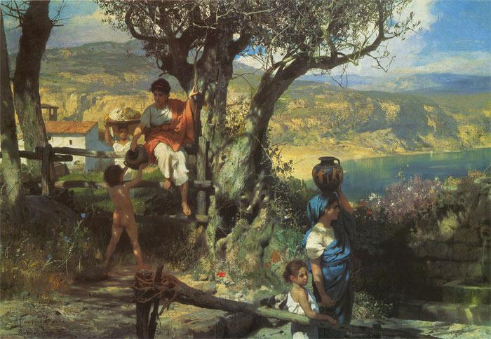 Siemiradzki Oil Painting Reproductions - Rome Village