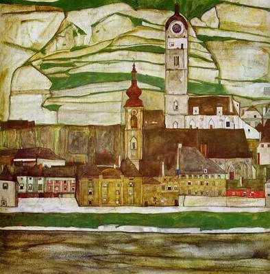 Stein on the Danube with Terraced Vineyards painting, a Egon Schiele paintings reproduction, we
