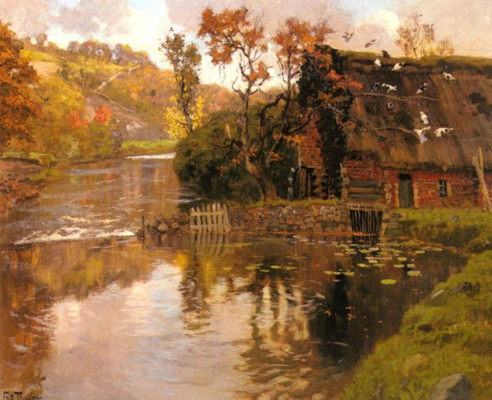Thaulou Oil Painting Reproductions - Cottage By A Stream