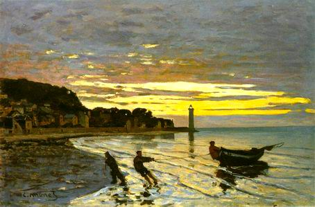 Towing of a Boat at Honfleur 1864 painting, a Claude Monet paintings reproduction, we never sell