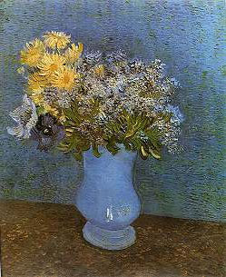 Vase with Lilacs, Daisies and Anemones painting, a Vincent Van Gogh paintings reproduction, we never