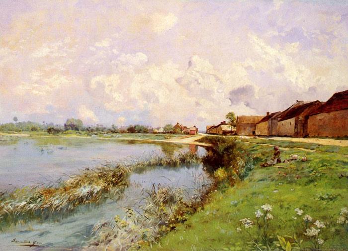 Yon Oil Painting Reproductions - Paysage De Riviere Landscape of a River