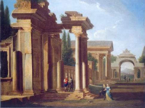 a capriccio of classical ruins painting