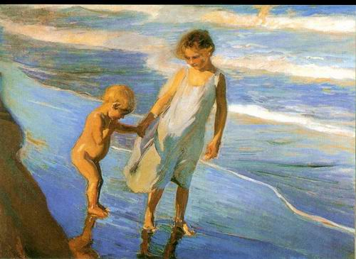 kids on the beach painting, a Joaquin Sorolla Bastida paintings reproduction, we never sell kids on
