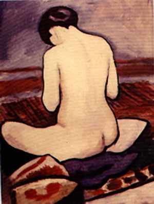 sitting nude painting, a Auguste Macke paintings reproduction, we never sell sitting nude poster