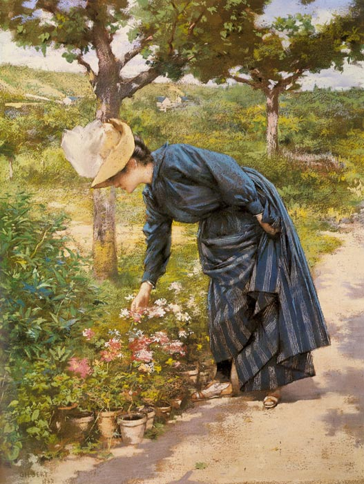 oil painting of woman who touches the flower
