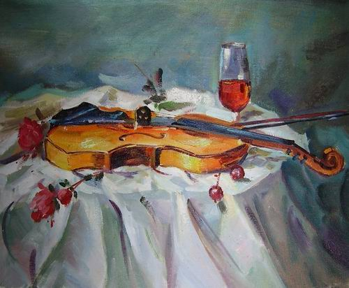 violin still life painting, a canvaz team paintings reproduction