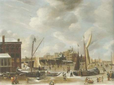 The Nieuwe Brug , townsfolk skating painting, a Abraham beerstraten paintings reproduction, we never