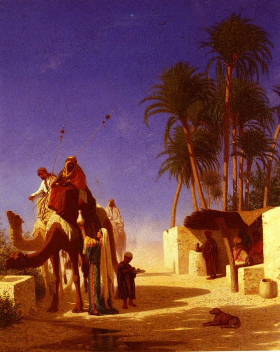 Frere Oil Painting Reproductions - Les Chameliers Buvant Le The [Camel Drivers Drinking from the