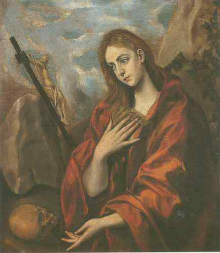Mary Magdalen in Penitence with the Crucifix painting, a El Greco paintings reproduction