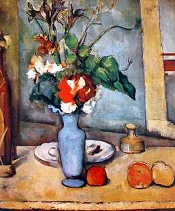 Still life paintings painting of blue vase with flower